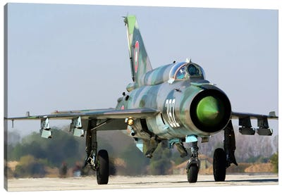 A Bulgarian Air Force MiG-21bis At Graf Ignatievo Air Base, Bulgaria Canvas Art Print