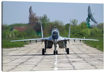 A MiG-29UB Of The Bulgarian Air Force On The Runway At Balchik Air Base Canvas Art Print