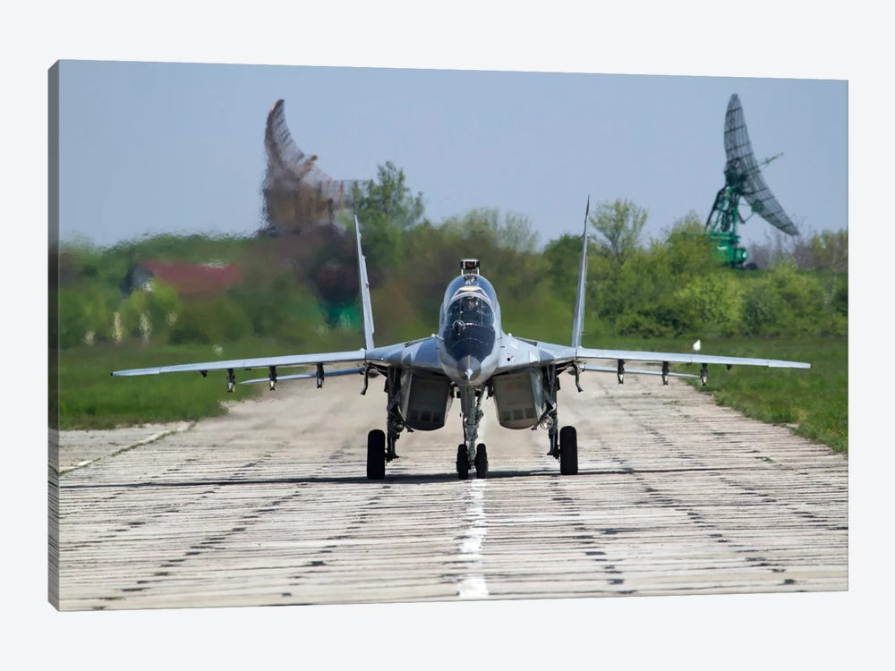 A MiG-29UB Of The Bulgarian Air Force On The Runway At Balchik Air Base by Anton Balakchiev 1-piece Art Print