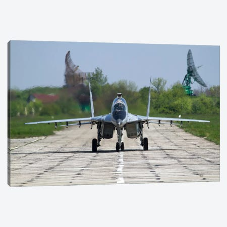 A MiG-29UB Of The Bulgarian Air Force On The Runway At Balchik Air Base Canvas Print #TRK203} by Anton Balakchiev Canvas Print