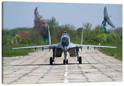 A MiG-29UB Of The Bulgarian Air Force On The Runway At Balchik Air Base Canvas Art Print