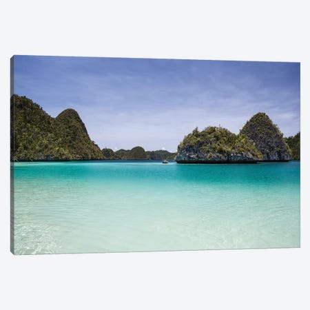 Rugged Limestone Islands Surround A Gorgeous Lagoon In Raja Ampat I Canvas Print #TRK2071} by Ethan Daniels Canvas Art Print