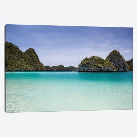 Rugged Limestone Islands Surround A Gorgeous Lagoon In Raja Ampat I Canvas Print #TRK2071} by Ethan Daniels Canvas Art Print