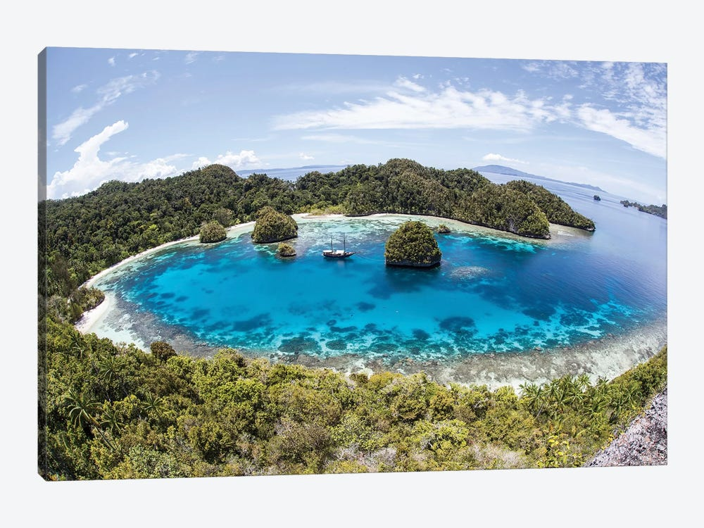 Rugged Limestone Islands Surround A Gorgeous Lagoon In Raja Ampat III by Ethan Daniels 1-piece Art Print