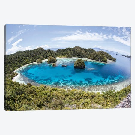Rugged Limestone Islands Surround A Gorgeous Lagoon In Raja Ampat III Canvas Print #TRK2073} by Ethan Daniels Canvas Print