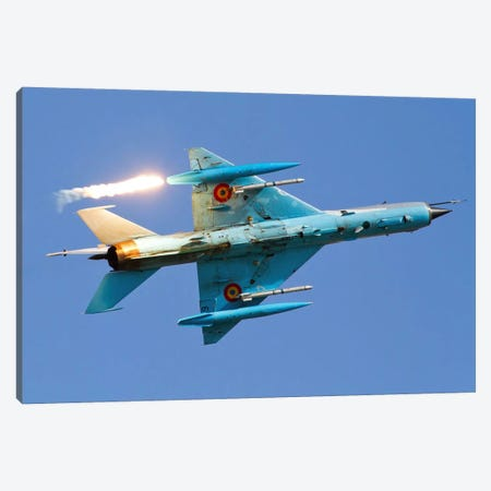 Romanian Air Force MiG-21MF Lancer Popping Flares Canvas Print #TRK207} by Anton Balakchiev Canvas Art