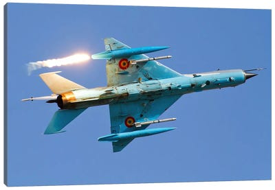 Romanian Air Force MiG-21MF Lancer Popping Flares Canvas Art Print