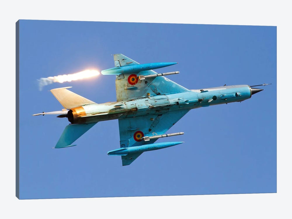 Romanian Air Force MiG-21MF Lancer Popping Flares by Anton Balakchiev 1-piece Canvas Art Print