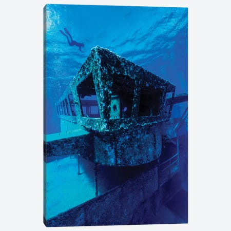A Freediver Descends To The USS Kittiwake, Grand Cayman, Cayman Islands Canvas Print #TRK2080} by Jennifer Idol Canvas Wall Art