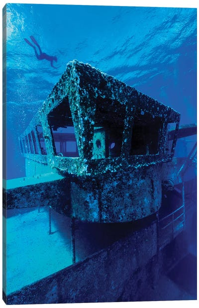 A Freediver Descends To The USS Kittiwake, Grand Cayman, Cayman Islands Canvas Art Print