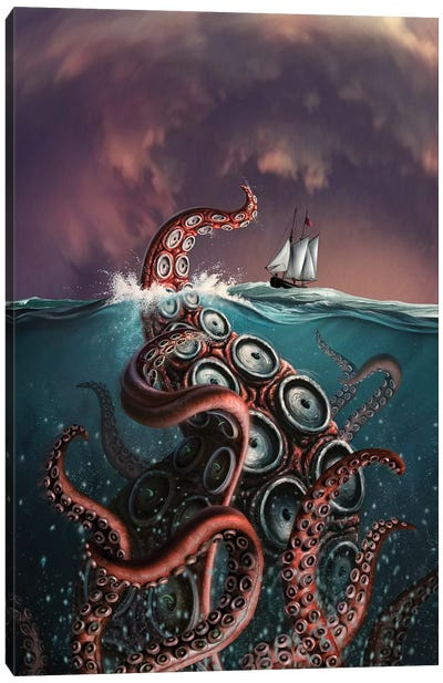 A Fantastical Depiction Of The Legendary Kraken Canvas Art Print