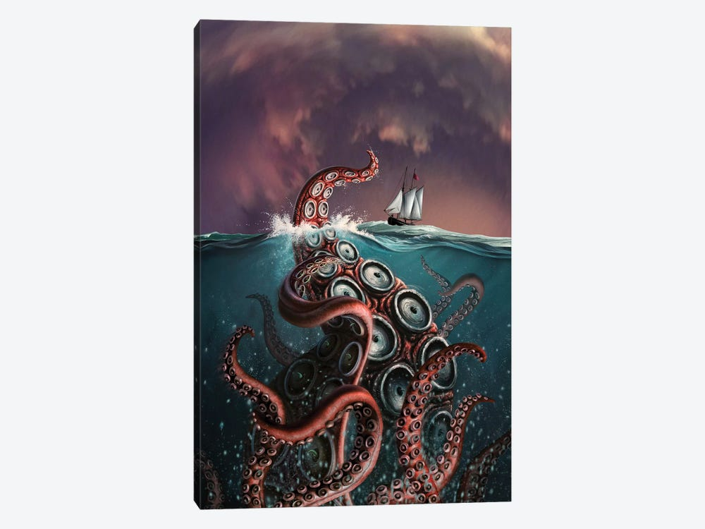 A Fantastical Depiction Of The Legendary Kraken by Jerry LoFaro 1-piece Canvas Print