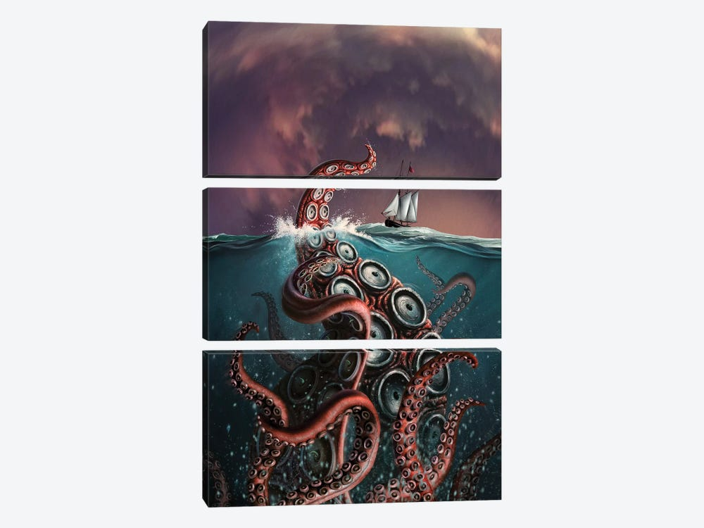 A Fantastical Depiction Of The Legendary Kraken by Jerry LoFaro 3-piece Canvas Art Print