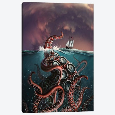 A Fantastical Depiction Of The Legendary Kraken 3-Piece Canvas #TRK2099} by Jerry LoFaro Canvas Print