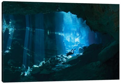 Diver Enters The Cavern System In The Riviera Maya Area Of Mexico Canvas Art Print
