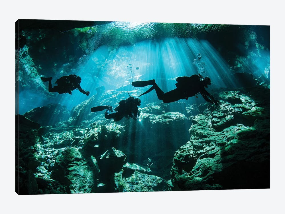 Divers Explore The Cavern System In The Riviera Maya Area Of Mexico by Karen Doody 1-piece Canvas Art