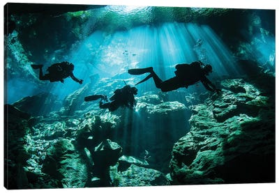 Divers Explore The Cavern System In The Riviera Maya Area Of Mexico Canvas Art Print