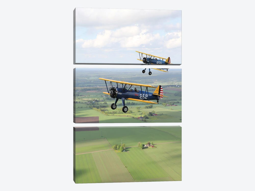 Boeing Stearman Model 75 Kaydet In US Army Colors I by Daniel Karlsson 3-piece Canvas Art