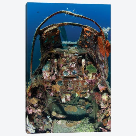 Cockpit Of A Mitsubishi Zero Fighter Plane Wreck Underwater Canvas Print #TRK2133} by Steve Jones Canvas Art