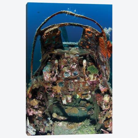 Cockpit Of A Mitsubishi Zero Fighter Plane Wreck Underwater 3-Piece Canvas #TRK2133} by Steve Jones Canvas Art