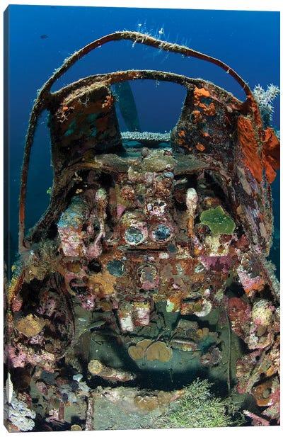 Cockpit Of A Mitsubishi Zero Fighter Plane Wreck Underwater Canvas Art Print