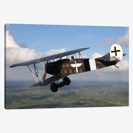 Fokker D.VII WWI Replica Fighter In The Air I Canvas Print #TRK215} by Daniel Karlsson Canvas Art Print