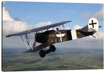 Fokker D.VII WWI Replica Fighter In The Air I Canvas Art Print