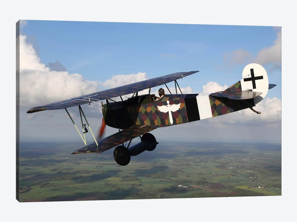 Fokker D.VII WWI Replica Fighter In The Air I by Daniel Karlsson 1-piece Canvas Wall Art