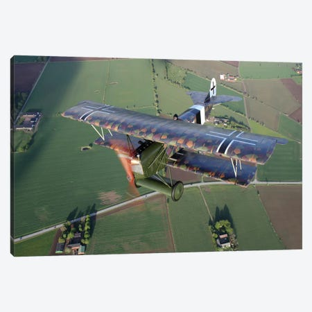 Fokker D.VII WWI Replica Fighter In The Air II Canvas Print #TRK216} by Daniel Karlsson Canvas Print