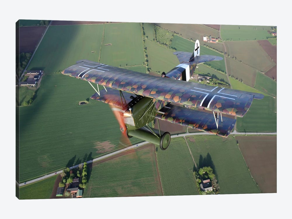 Fokker D.VII WWI Replica Fighter In The Air II by Daniel Karlsson 1-piece Canvas Print