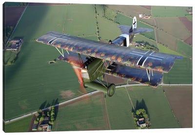 Fokker D.VII WWI Replica Fighter In The Air II Canvas Art Print