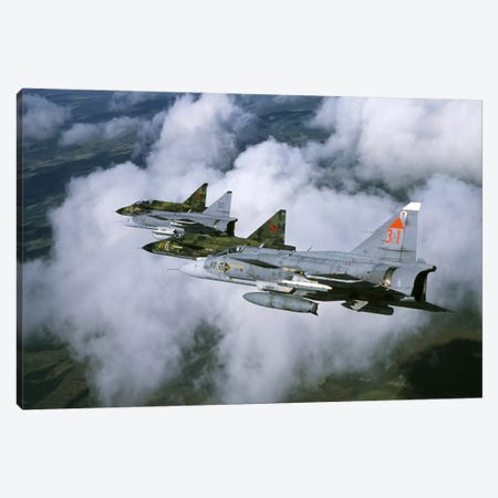 Four Saab 37 Viggen Fighters Of The Swedish Air Force Canvas Print #TRK217} by Daniel Karlsson Canvas Print