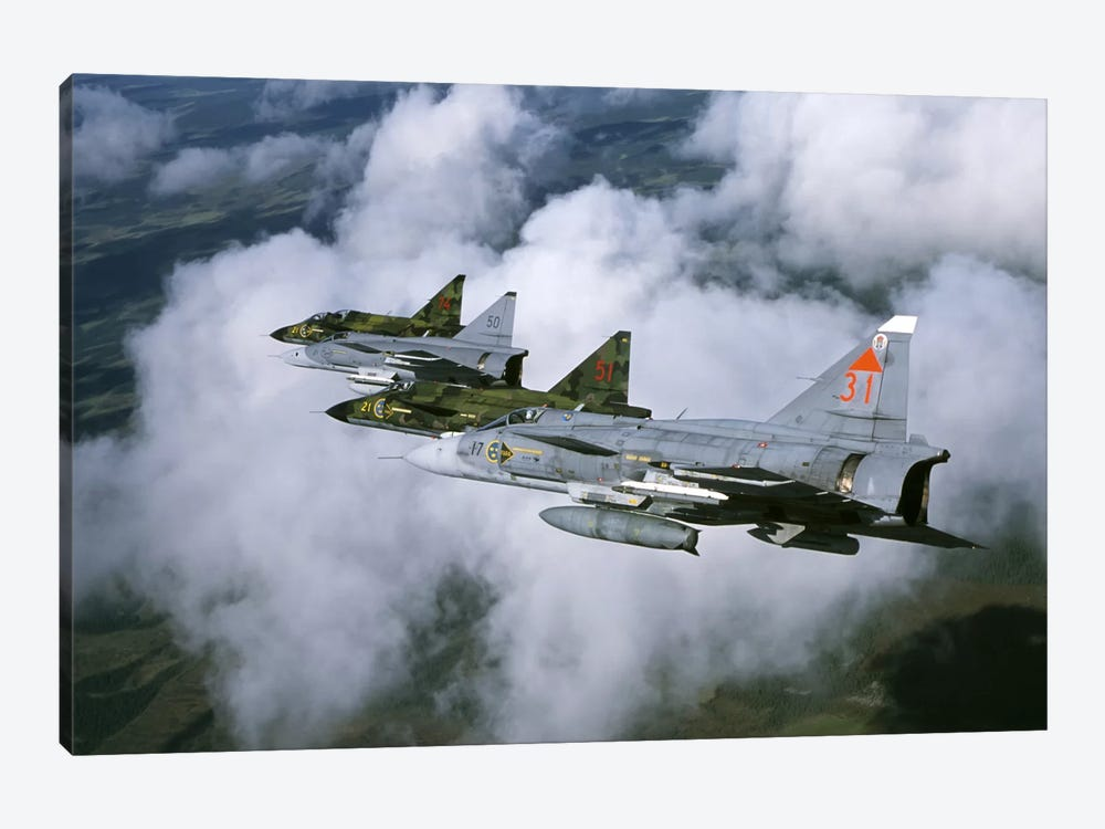 Four Saab 37 Viggen Fighters Of The Swedish Air Force by Daniel Karlsson 1-piece Canvas Artwork
