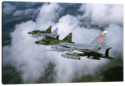 Four Saab 37 Viggen Fighters Of The Swedish Air Force Canvas Art Print