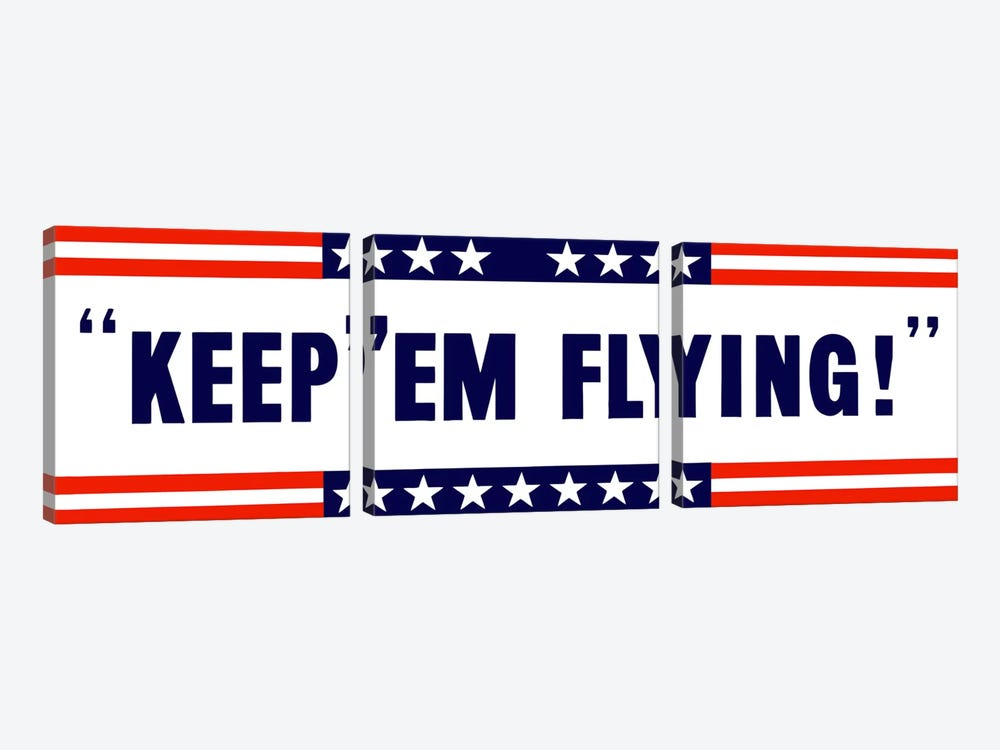 Keep 'Em Flying! US Wartime Poster by John Parrot 3-piece Canvas Artwork