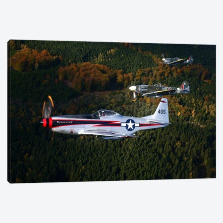P-51 Cavalier Mustang With Supermarine Spitfire Fighter Warbirds Canvas Print #TRK220} by Daniel Karlsson Canvas Art Print