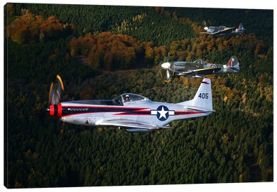 P-51 Cavalier Mustang With Supermarine Spitfire Fighter Warbirds Canvas Art Print