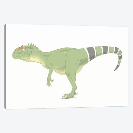 Allosaurus Pencil Drawing With Digital Color Canvas Print #TRK2227} by Alice Turner Canvas Print