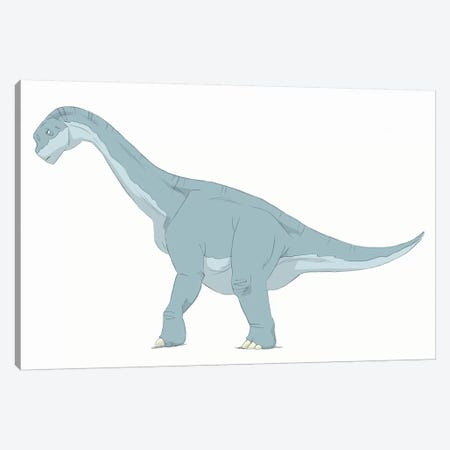 Camarasaurus Pencil Drawing With Digital Color Canvas Print #TRK2228} by Alice Turner Canvas Art