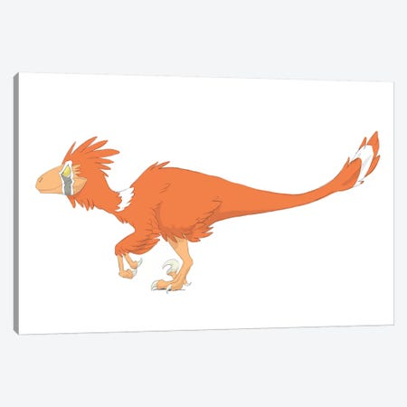 Deinonychus Pencil Drawing With Digital Color Canvas Print #TRK2229} by Alice Turner Canvas Wall Art