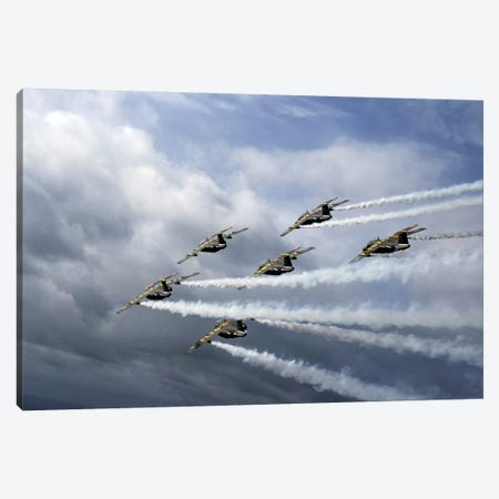 Saab 105 Jet Trainers Of The Swedish Air Force Display Team, Team 60 I Canvas Print #TRK222} by Daniel Karlsson Art Print