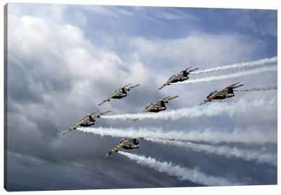 Saab 105 Jet Trainers Of The Swedish Air Force Display Team, Team 60 I Canvas Art Print
