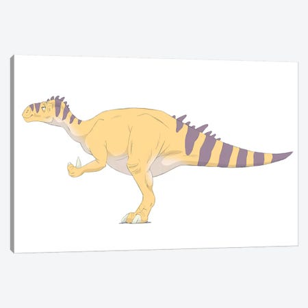 Iguanodon Pencil Drawing With Digital Color Canvas Print #TRK2231} by Alice Turner Art Print
