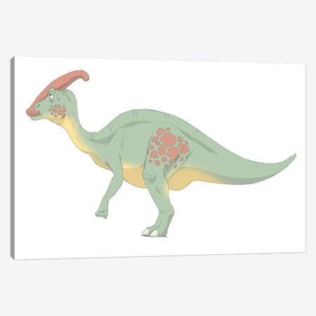 Parasaurolophus Pencil Drawing With Digital Color Canvas Print #TRK2233} by Alice Turner Canvas Art Print