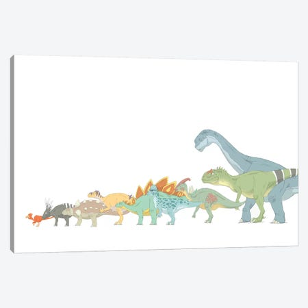 Pencil Drawing Illustrating Various Dinosaurs And Their Comparative Sizes Canvas Print #TRK2234} by Alice Turner Canvas Artwork