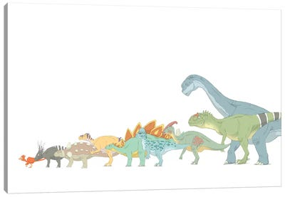 Pencil Drawing Illustrating Various Dinosaurs And Their Comparative Sizes Canvas Art Print