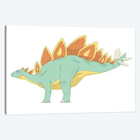 Stegosaurus Pencil Drawing With Digital Color Canvas Print #TRK2235} by Alice Turner Canvas Wall Art