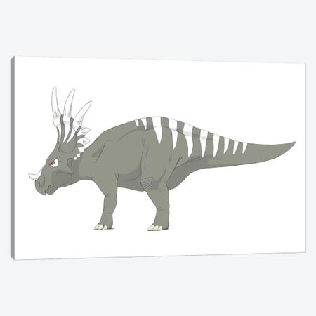 Styracosaurus Pencil Drawing With Digital Color Canvas Print #TRK2236} by Alice Turner Canvas Wall Art