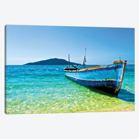 A Lone Boat On The Shore Of Cayos Cochinos, Honduras Canvas Print #TRK2237} by Amanda Nicholls Canvas Artwork