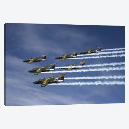 Saab 105 Jet Trainers Of The Swedish Air Force Display Team, Team 60 II Canvas Print #TRK223} by Daniel Karlsson Canvas Art Print